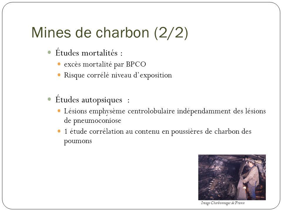 Mines de charbon (2/2) Études mortalités : Études autopsiques :