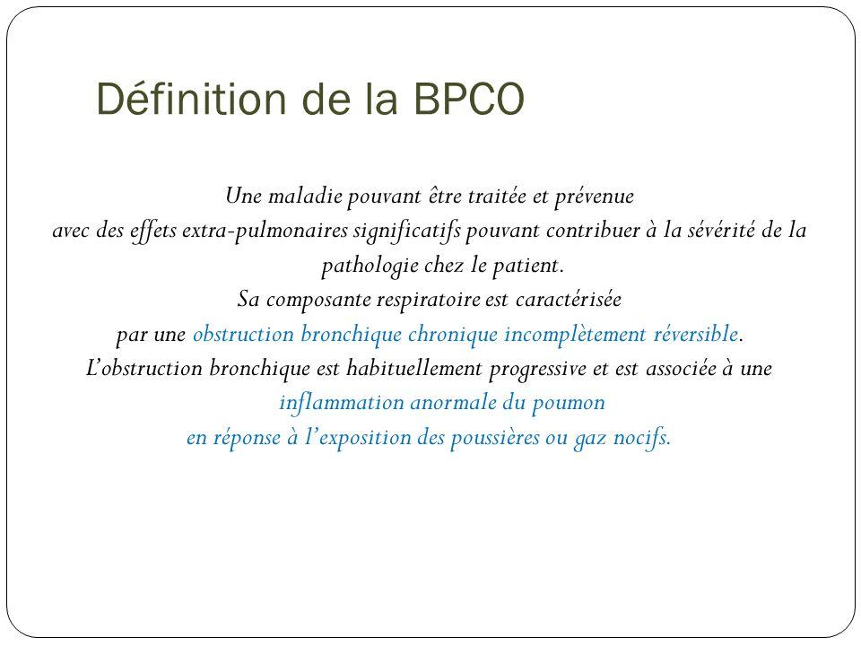 Définition de la BPCO Une maladie pouvant être traitée et prévenue