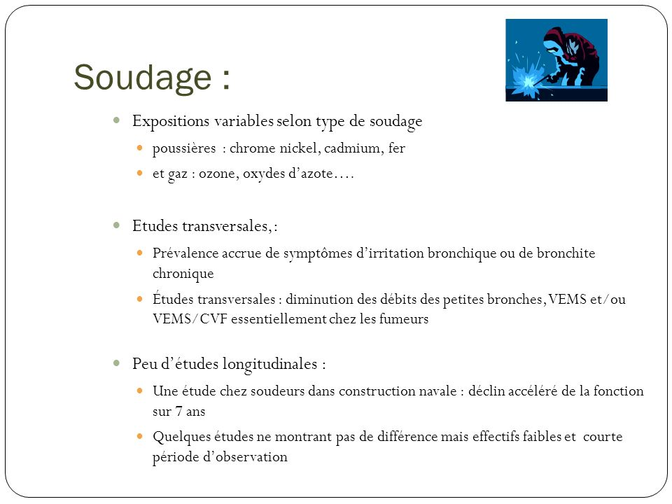 Soudage : Expositions variables selon type de soudage