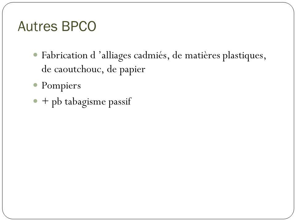 Autres BPCO Fabrication d 'alliages cadmiés, de matières plastiques, de caoutchouc, de papier. Pompiers.