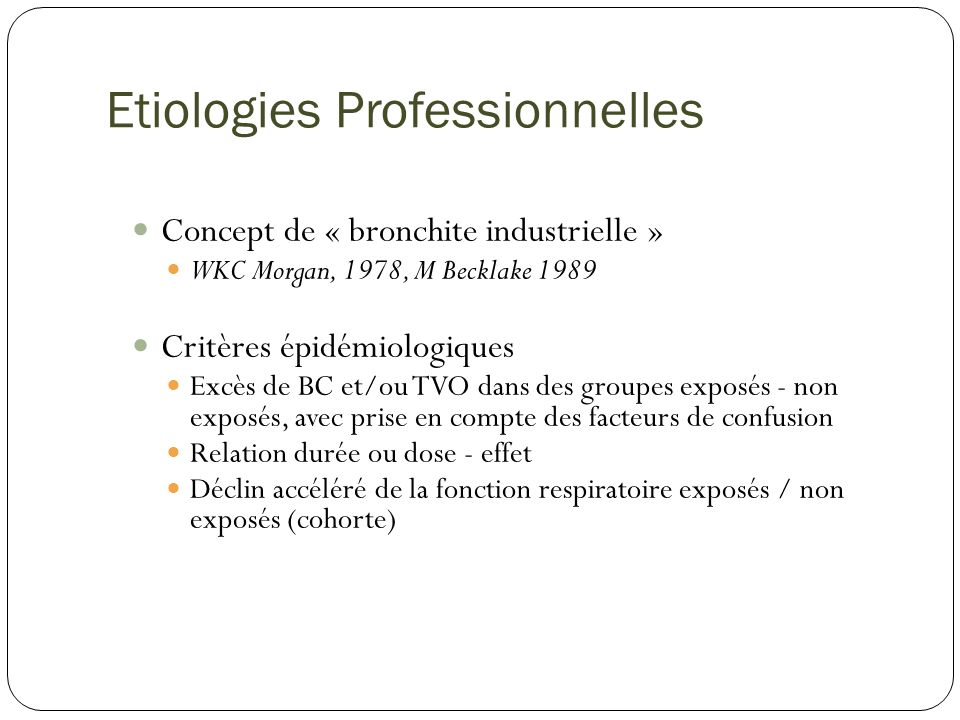 Etiologies Professionnelles
