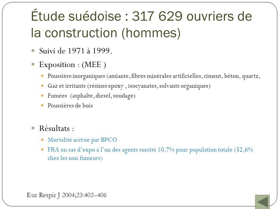 Étude suédoise : 317 629 ouvriers de la construction (hommes)