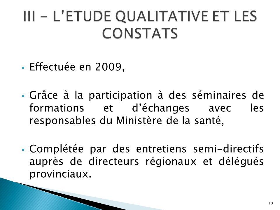 III - L'ETUDE QUALITATIVE ET LES CONSTATS