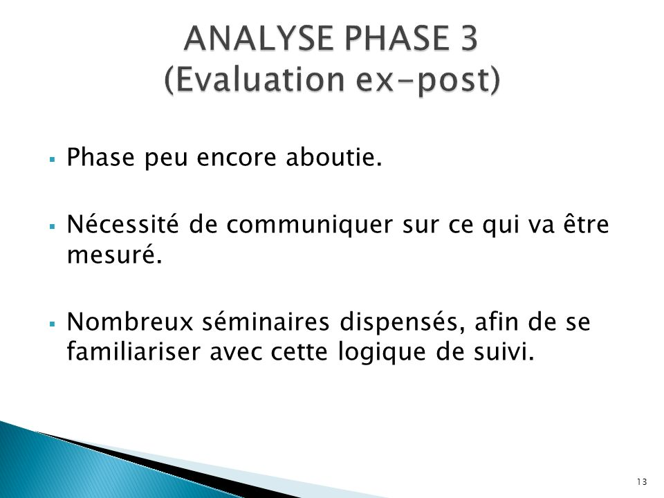 ANALYSE PHASE 3 (Evaluation ex-post)