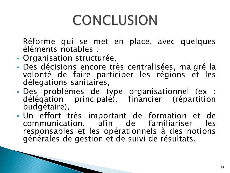 CONCLUSION Réforme qui se met en place, avec quelques éléments notables : Organisation structurée,