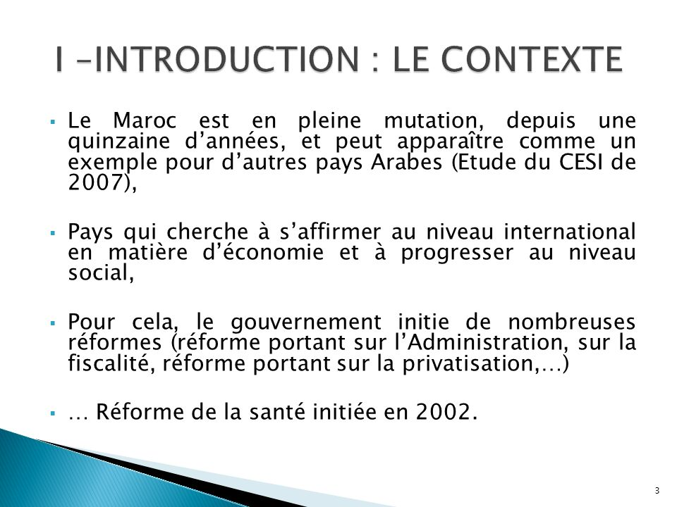 I –INTRODUCTION : LE CONTEXTE