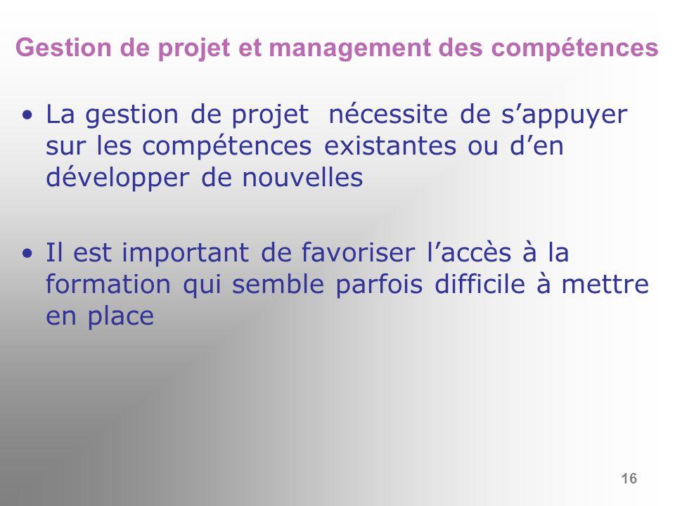 Gestion de projet et management des compétences
