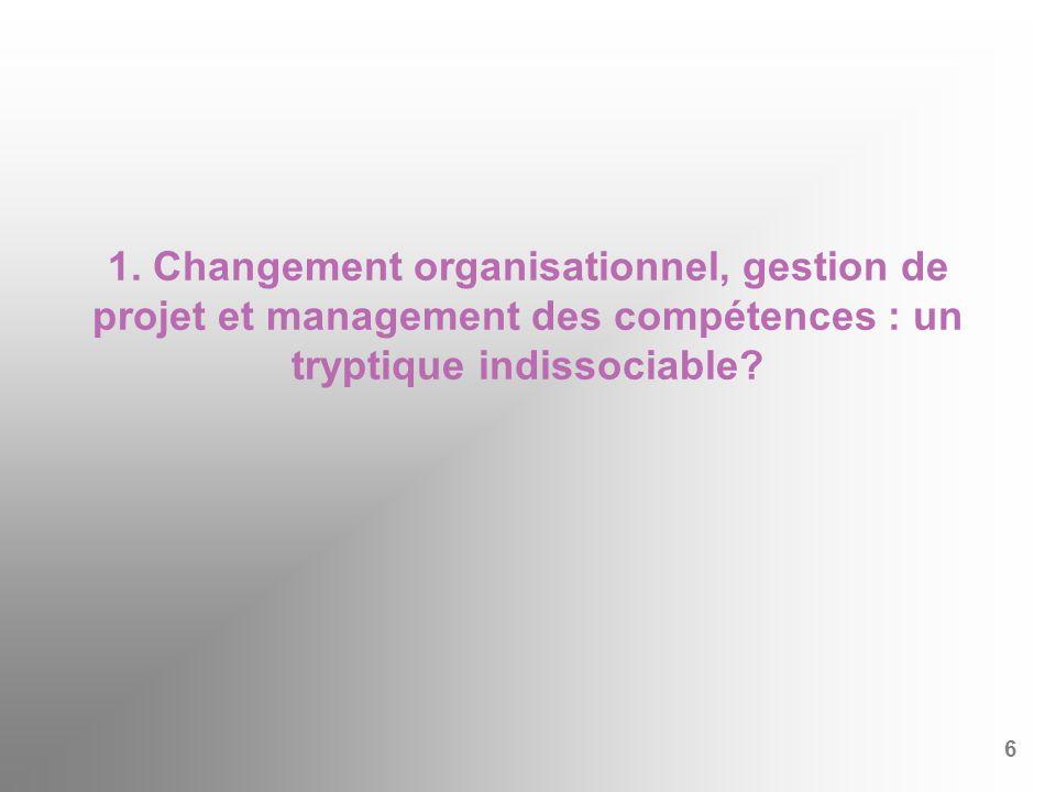 1. Changement organisationnel, gestion de projet et management des compétences : un tryptique indissociable