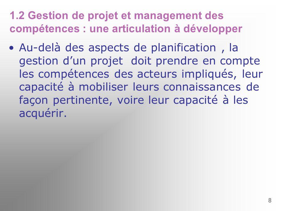 1.2 Gestion de projet et management des compétences : une articulation à développer
