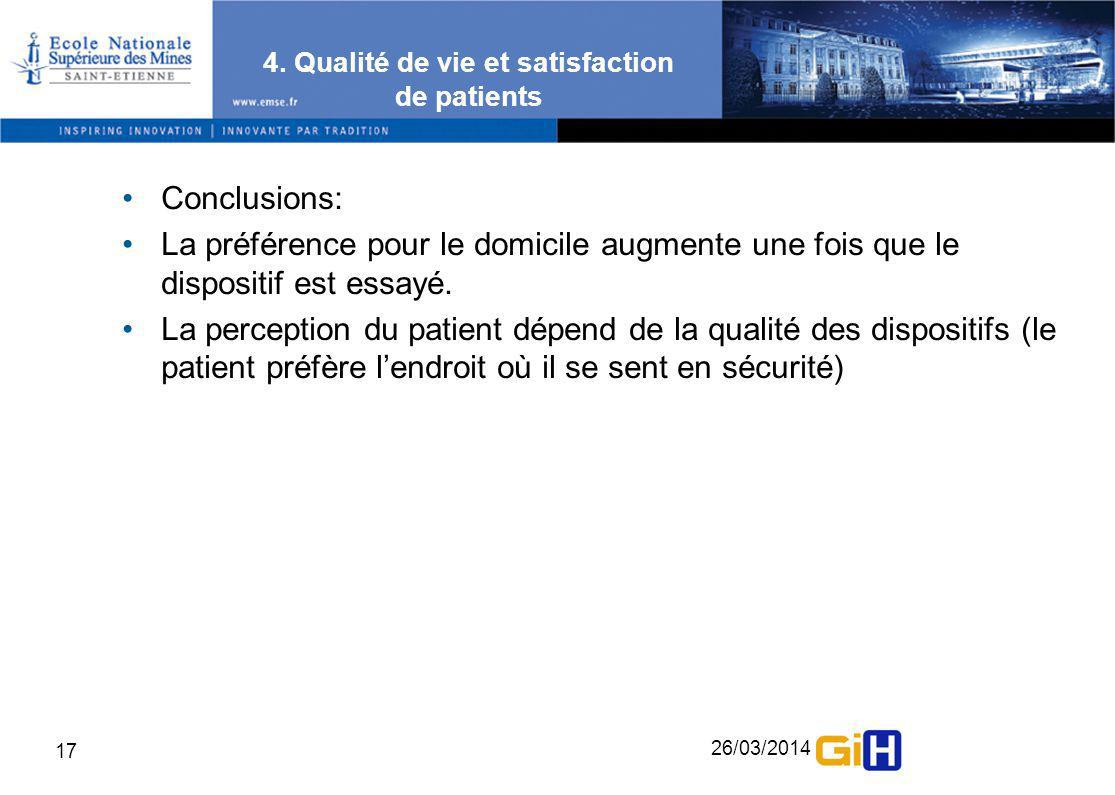 4. Qualité de vie et satisfaction de patients
