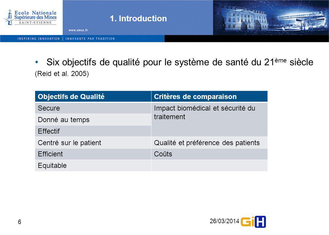 Six objectifs de qualité pour le système de santé du 21ème siècle