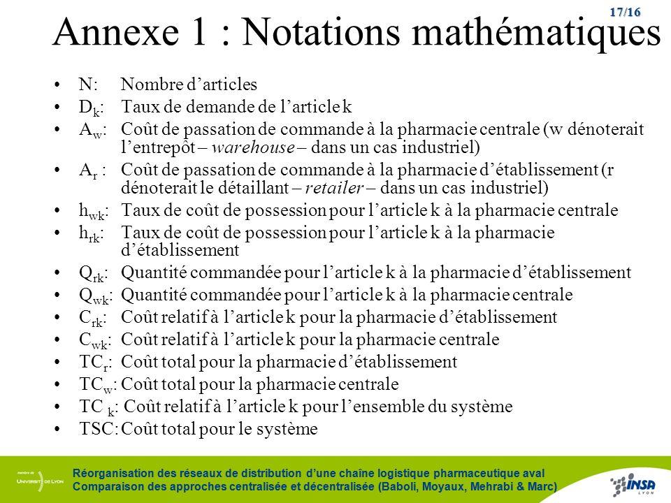 Annexe 1 : Notations mathématiques