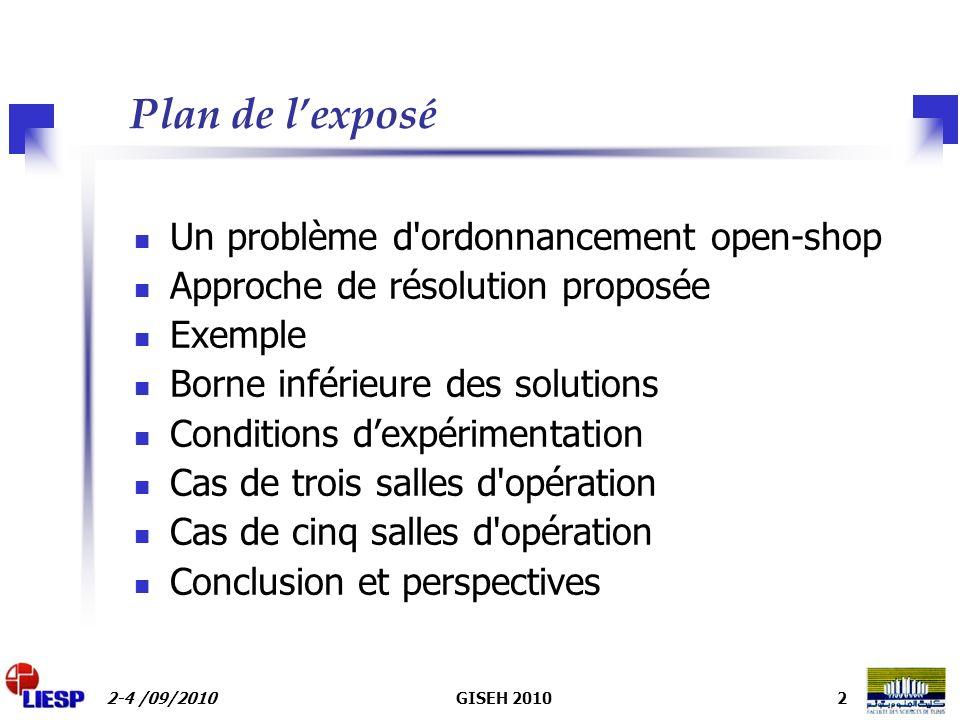 Plan de l'exposé Un problème d ordonnancement open-shop