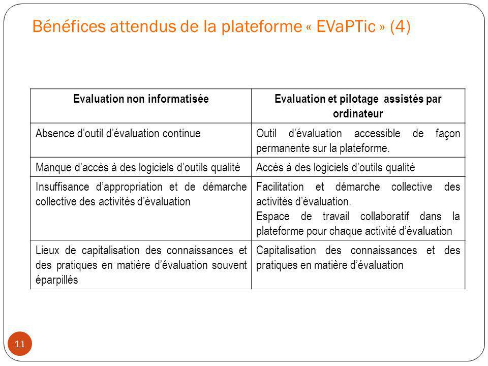 Bénéfices attendus de la plateforme « EVaPTic » (4)