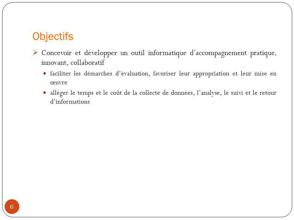 Objectifs Concevoir et développer un outil informatique d'accompagnement pratique, innovant, collaboratif.