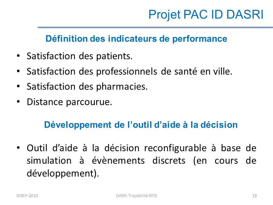 Projet PAC ID DASRI Satisfaction des patients.