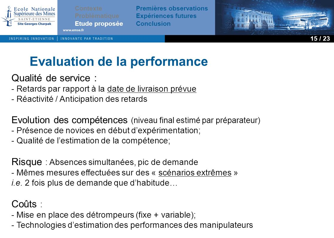 Evaluation de la performance