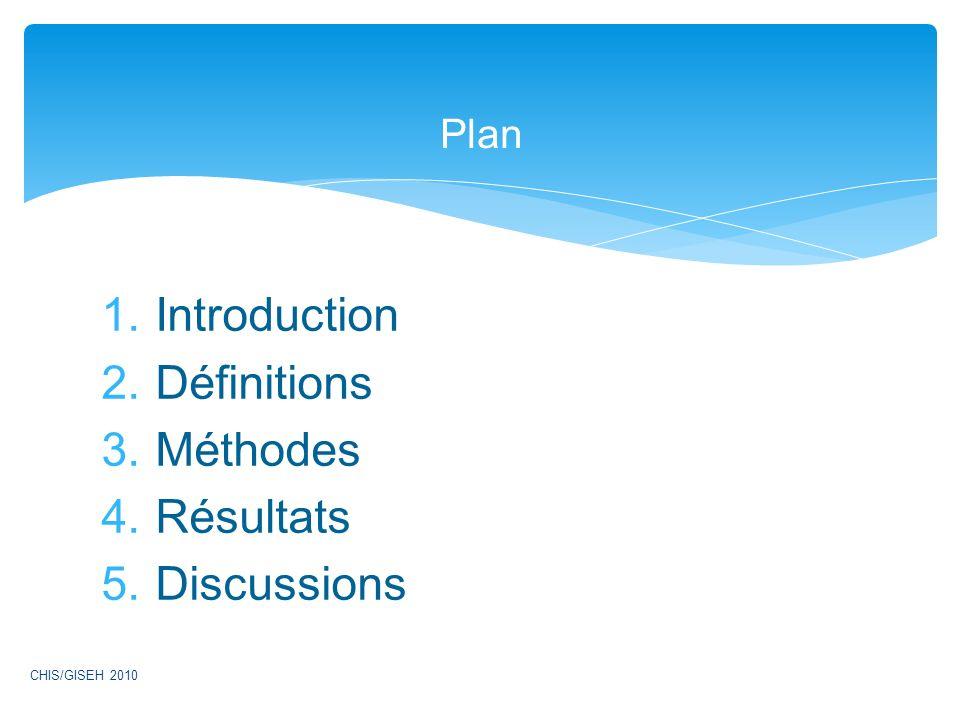 Introduction Définitions Méthodes Résultats Discussions Plan
