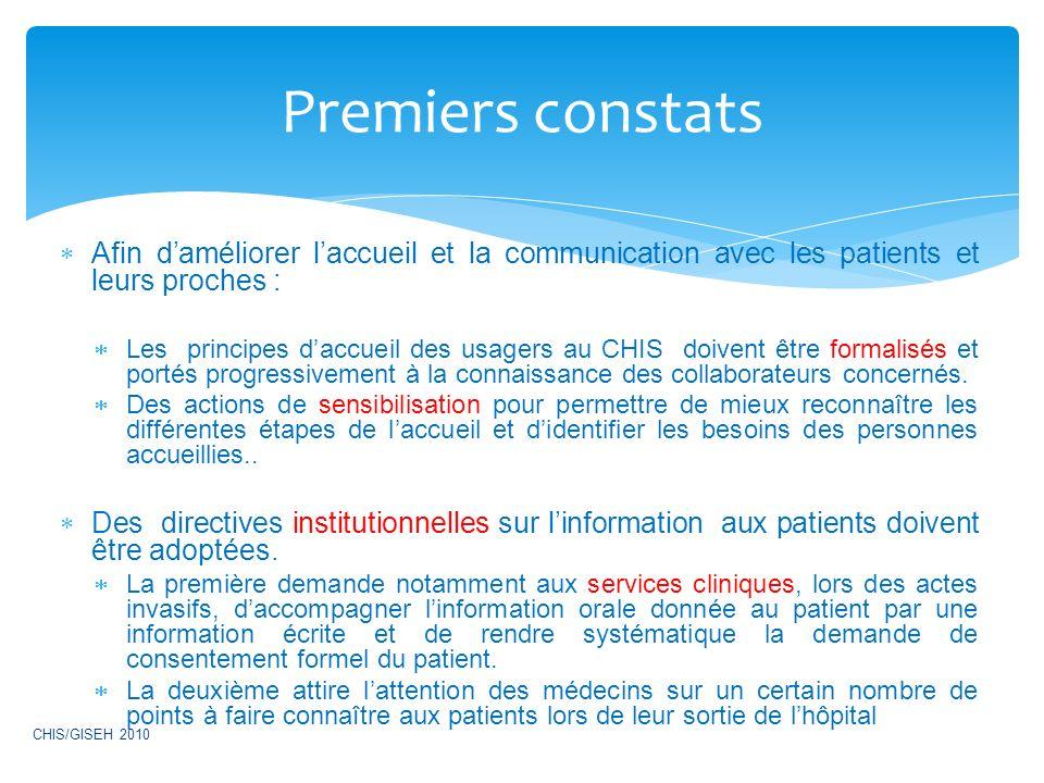Premiers constats Afin d'améliorer l'accueil et la communication avec les patients et leurs proches :