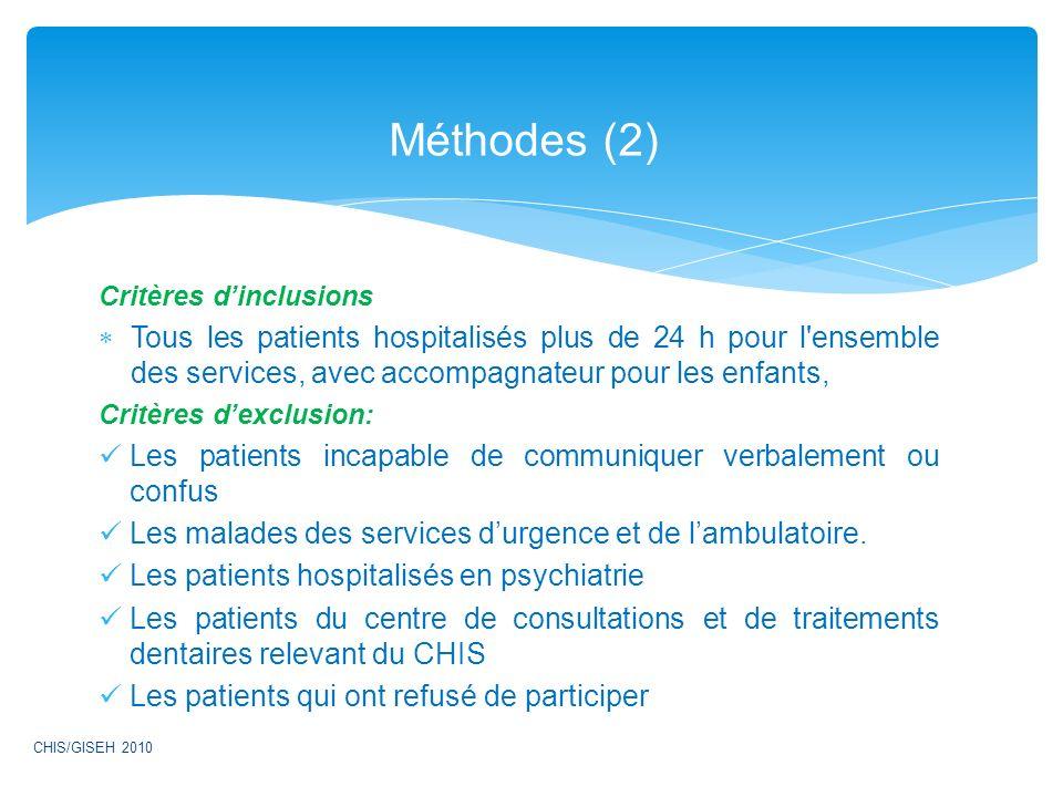 Méthodes (2) Critères d'inclusions. Tous les patients hospitalisés plus de 24 h pour l ensemble des services, avec accompagnateur pour les enfants,