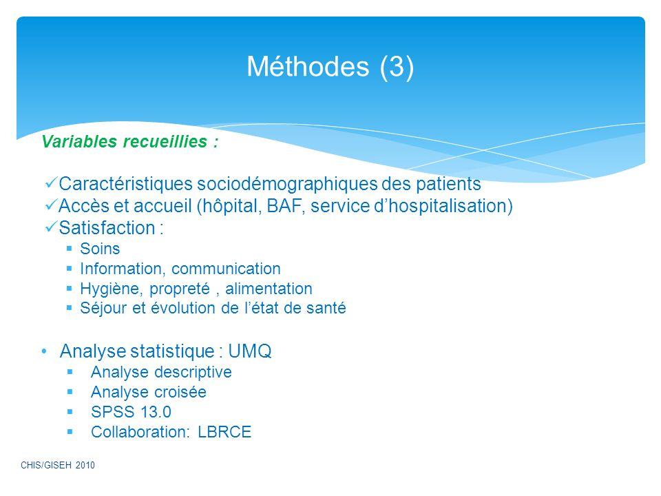 Méthodes (3) Caractéristiques sociodémographiques des patients
