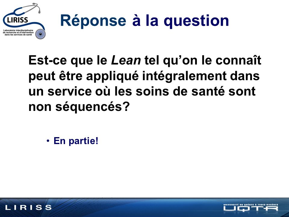 Réponse à la question