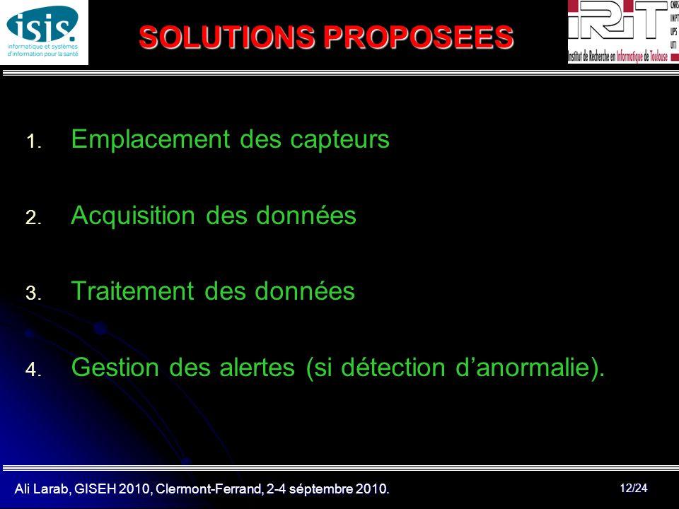 SOLUTIONS PROPOSEES Emplacement des capteurs Acquisition des données