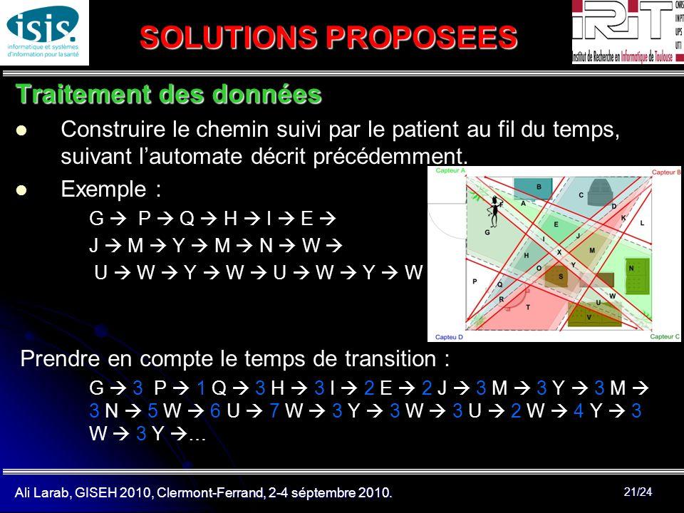 SOLUTIONS PROPOSEES Traitement des données