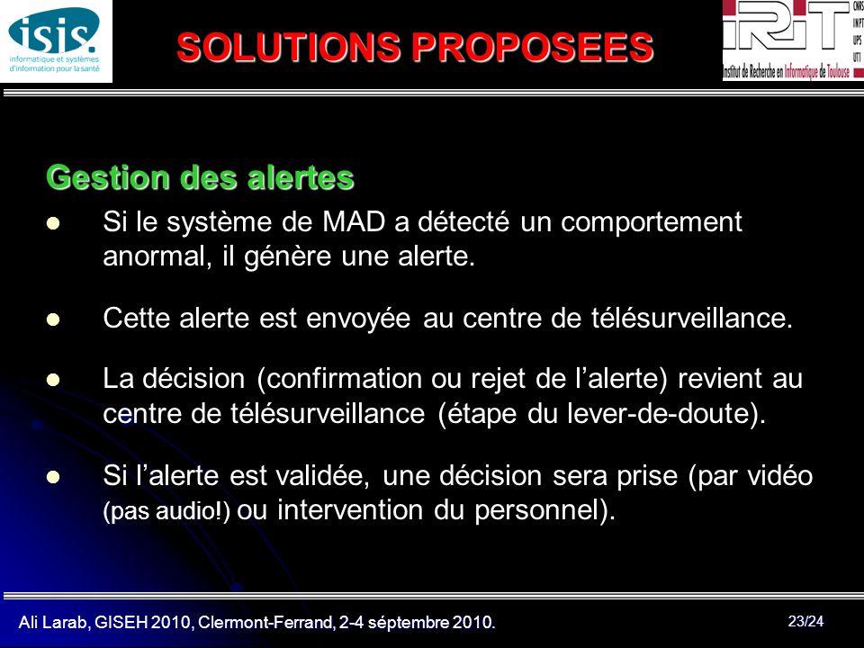 SOLUTIONS PROPOSEES Gestion des alertes