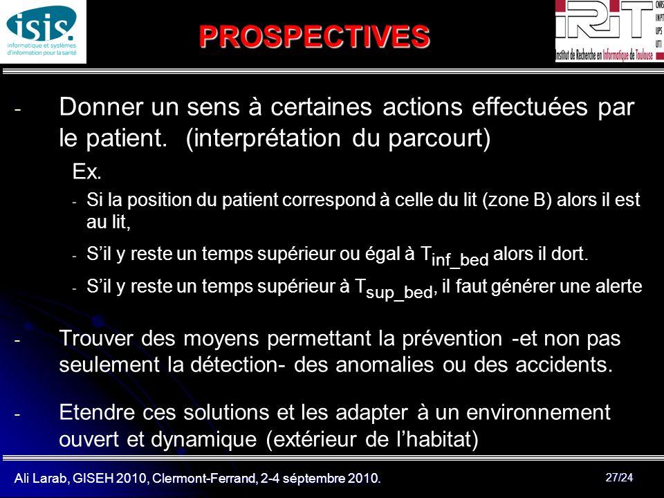 PROSPECTIVES Donner un sens à certaines actions effectuées par le patient. (interprétation du parcourt)