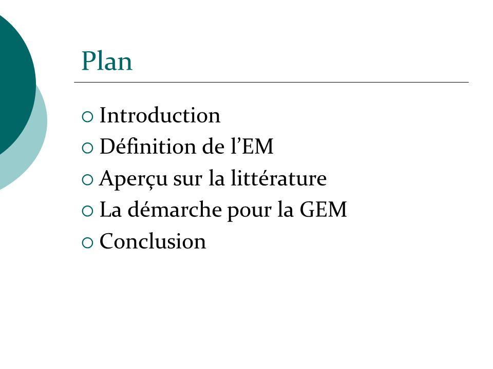 Plan Introduction Définition de l'EM Aperçu sur la littérature
