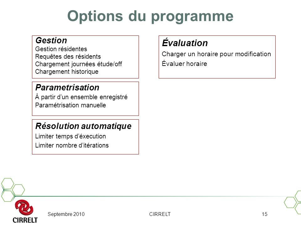 Options du programme Évaluation Gestion Parametrisation