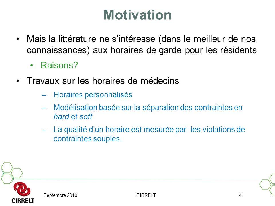 Motivation Mais la littérature ne s'intéresse (dans le meilleur de nos connaissances) aux horaires de garde pour les résidents.