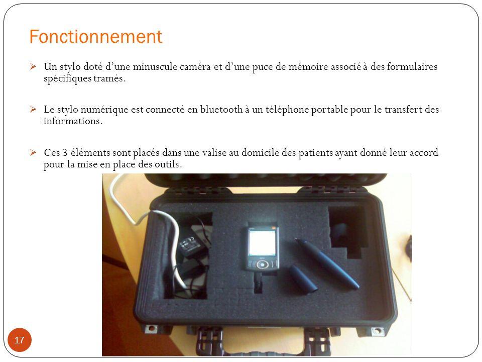 Fonctionnement Un stylo doté d'une minuscule caméra et d'une puce de mémoire associé à des formulaires spécifiques tramés.