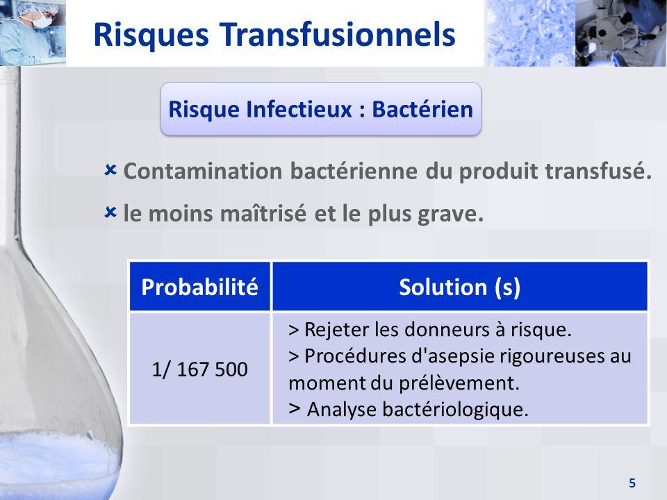 Risques Transfusionnels Risque Infectieux : Bactérien