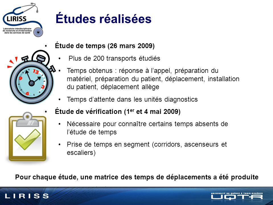 Études réalisées Étude de temps (26 mars 2009)