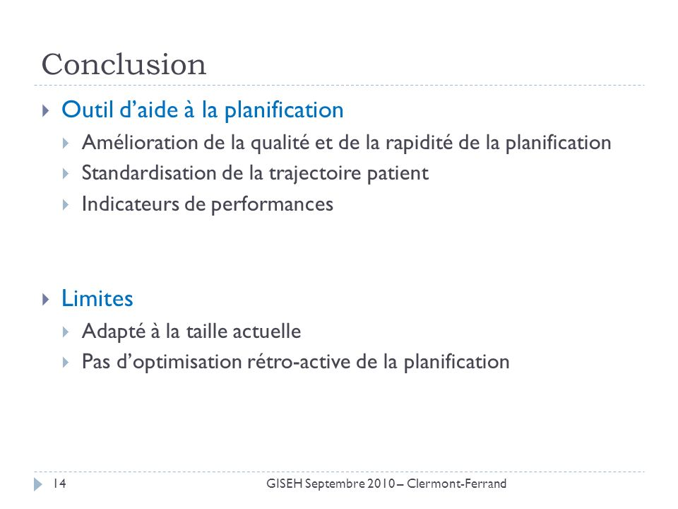 Conclusion Outil d'aide à la planification Limites