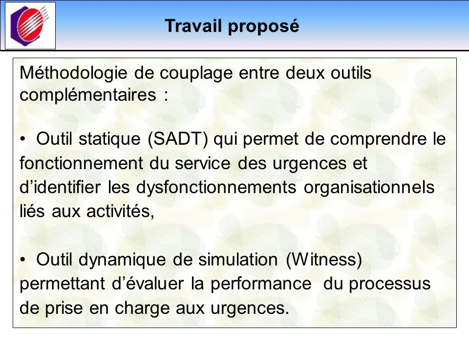 Travail proposéMéthodologie de couplage entre deux outils complémentaires :