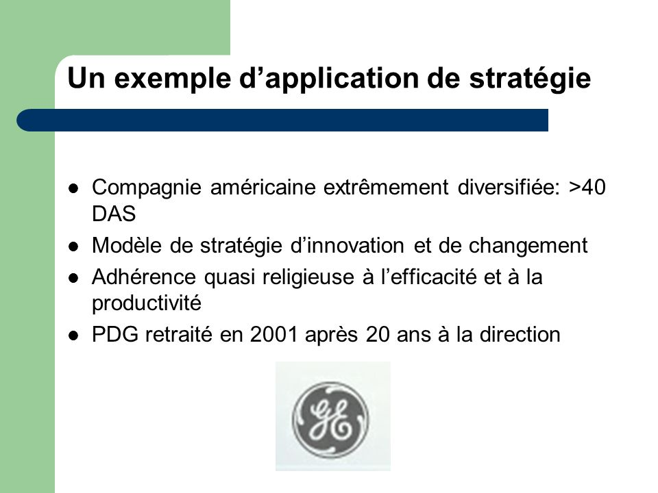 Un exemple d'application de stratégie