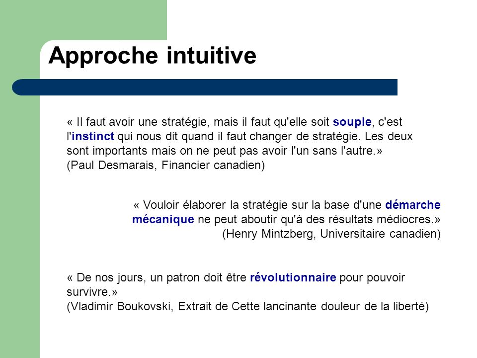 Approche intuitive