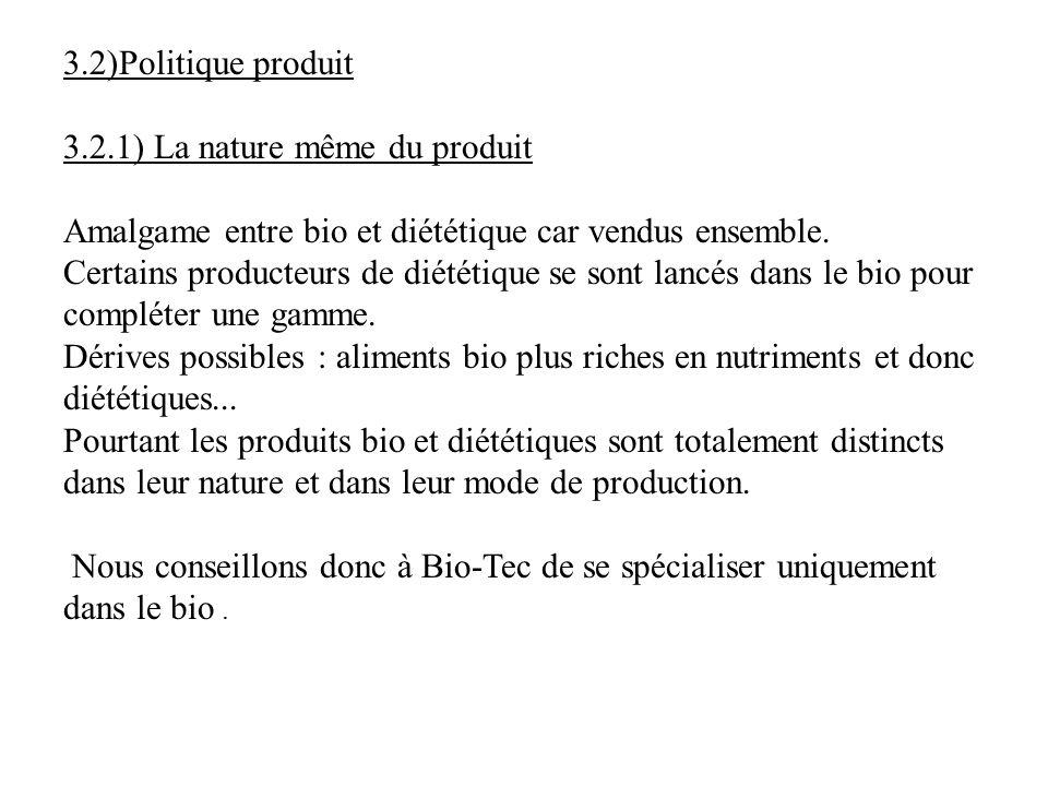 3.2)Politique produit 3.2.1) La nature même du produit. Amalgame entre bio et diététique car vendus ensemble.
