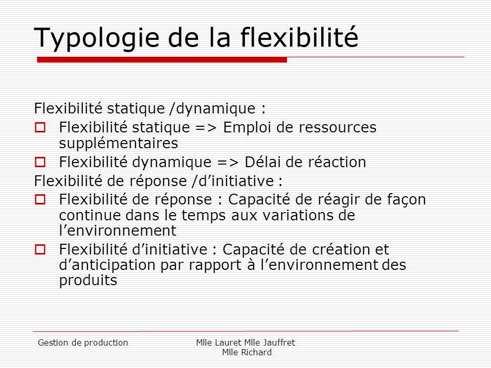 Typologie de la flexibilité