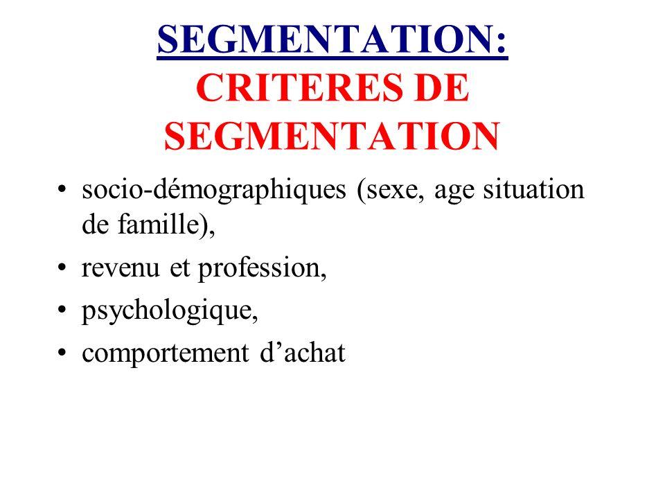 SEGMENTATION: CRITERES DE SEGMENTATION
