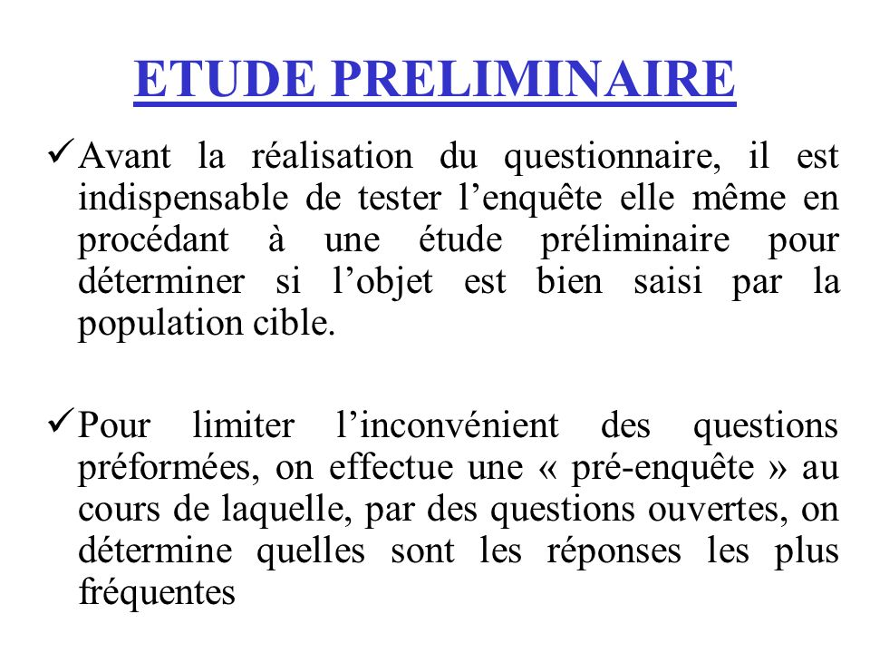 ETUDE PRELIMINAIRE