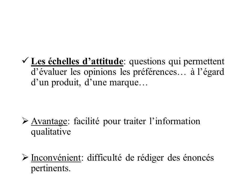 Les échelles d'attitude: questions qui permettent d'évaluer les opinions les préférences… à l'égard d'un produit, d'une marque…