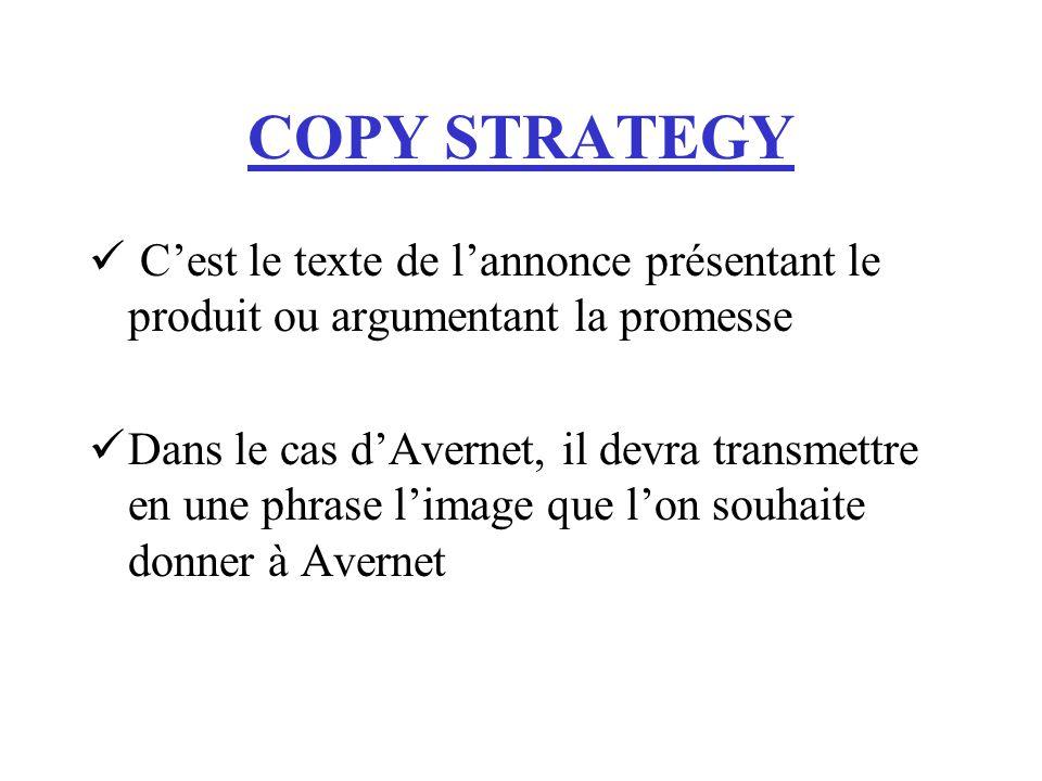 COPY STRATEGY C'est le texte de l'annonce présentant le produit ou argumentant la promesse.