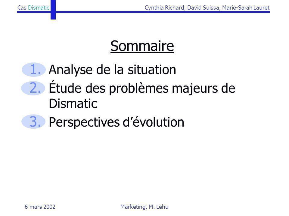 Sommaire Analyse de la situation