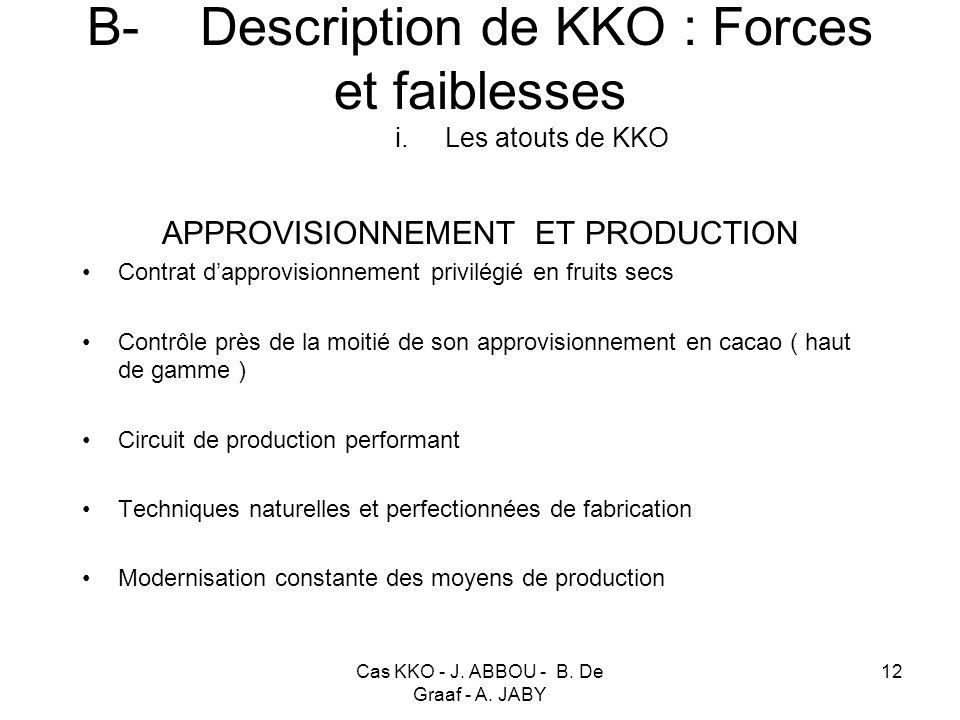 B- Description de KKO : Forces et faiblesses i. Les atouts de KKO