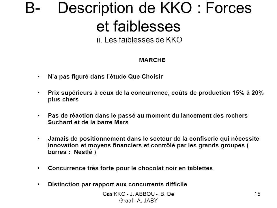 B- Description de KKO : Forces et faiblesses ii. Les faiblesses de KKO