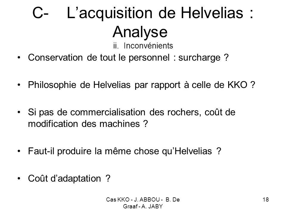 C- L'acquisition de Helvelias : Analyse ii. Inconvénients